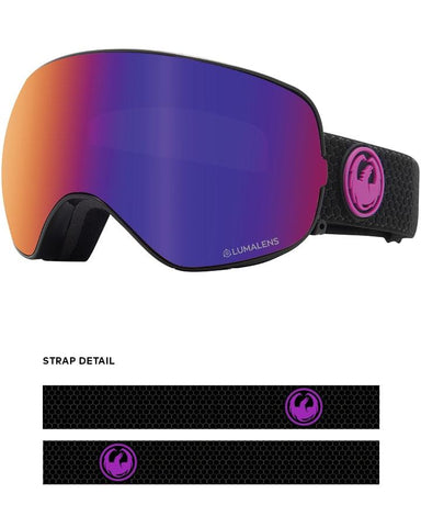 Dragon | X2S Snow Goggles | 2021 | Split / Lumalens Purple Ion + Spare Lens
