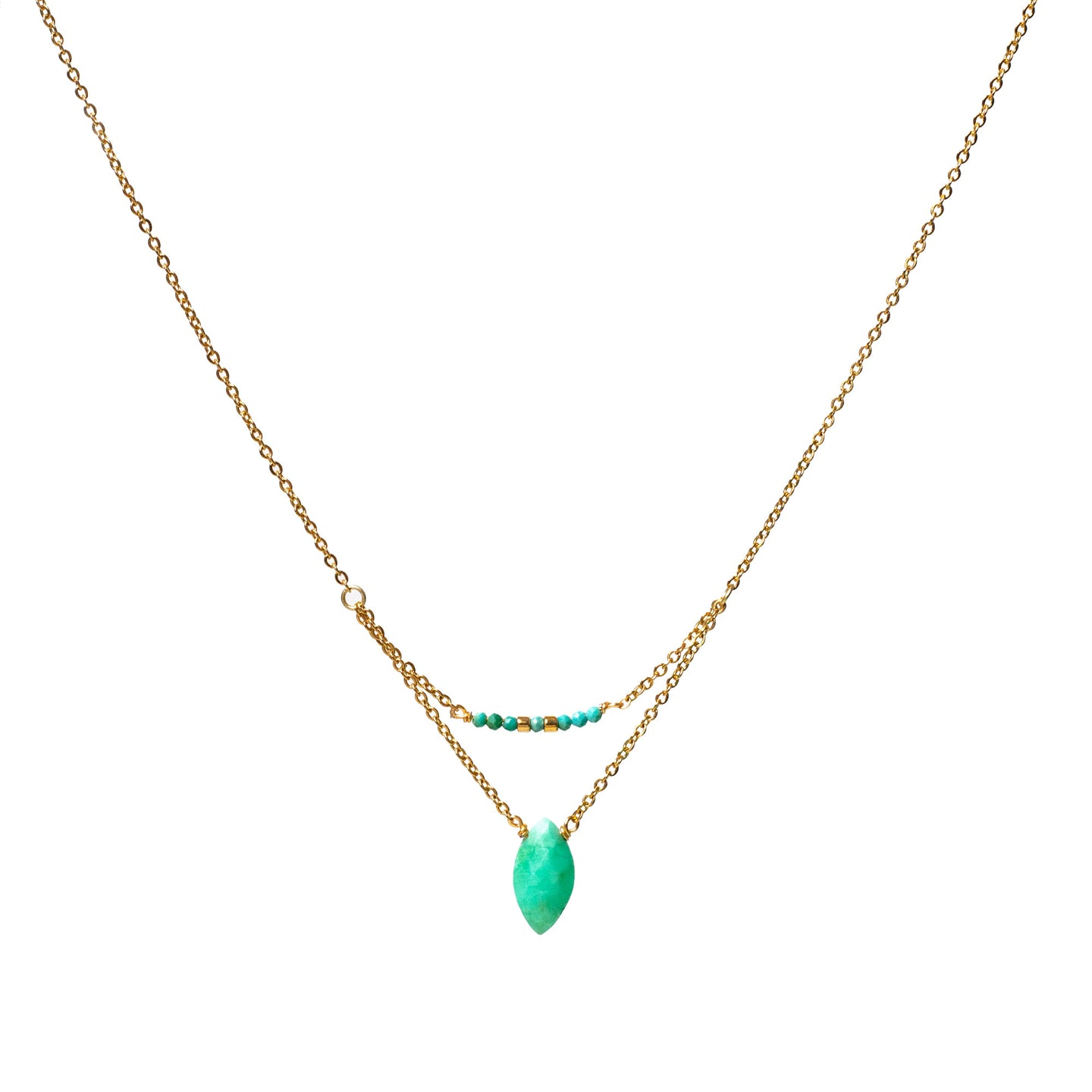 Collier double rangs - Chrysoprase