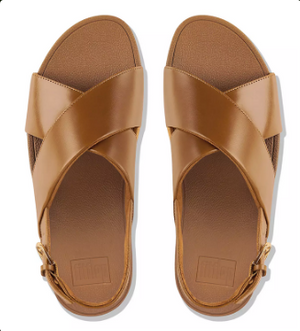 Laden Sie das Bild in den Galerie-Viewer, Fitflop Lulu Cross Ledersandale Caramel