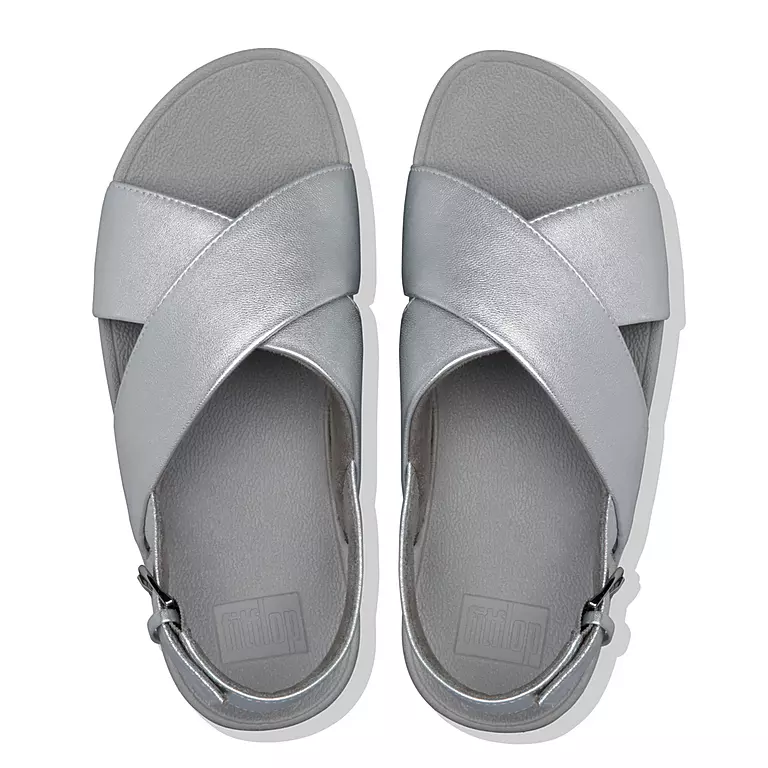 Laden Sie das Bild in den Galerie-Viewer, Fitflop Lulu Cross Ledersandale Silver