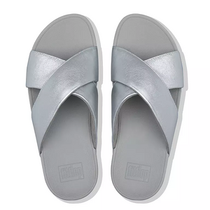 Laden Sie das Bild in den Galerie-Viewer, Fitflop Lulu Cross Slide Leather Silver