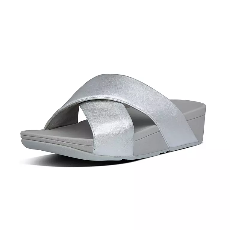 Fitflop Lulu Cross Slide Leather Silver