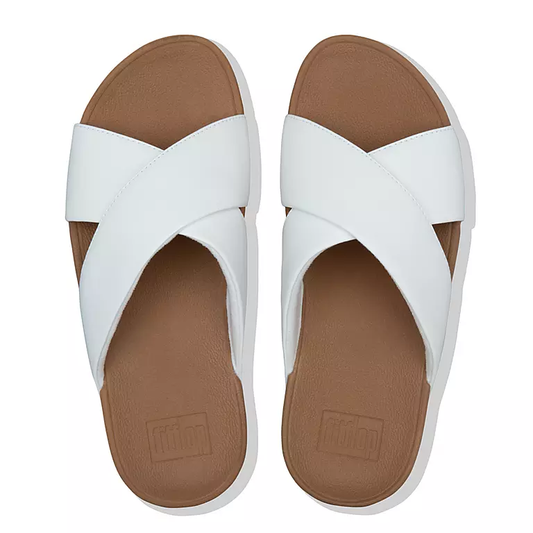 Fitflop Lulu Cross Slide Leather White