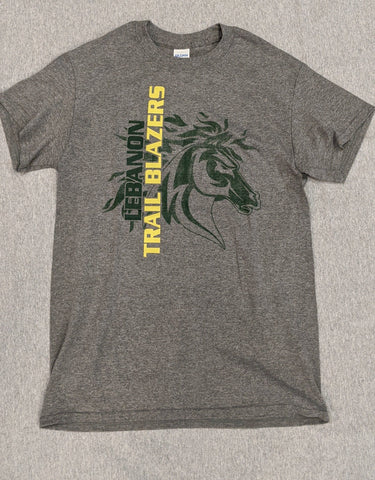 Lebanon Trail Basic T-Shirt Faded Blazer Logo - Frisco Sports Center - Frisco, Texas