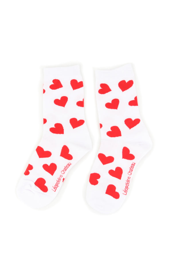 CHAUSSETTES BLANCHES COEURS ROUGES