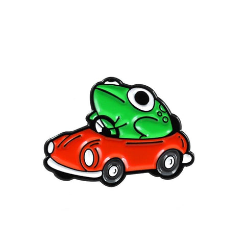 Broche grenouille<br>Voiture rouge