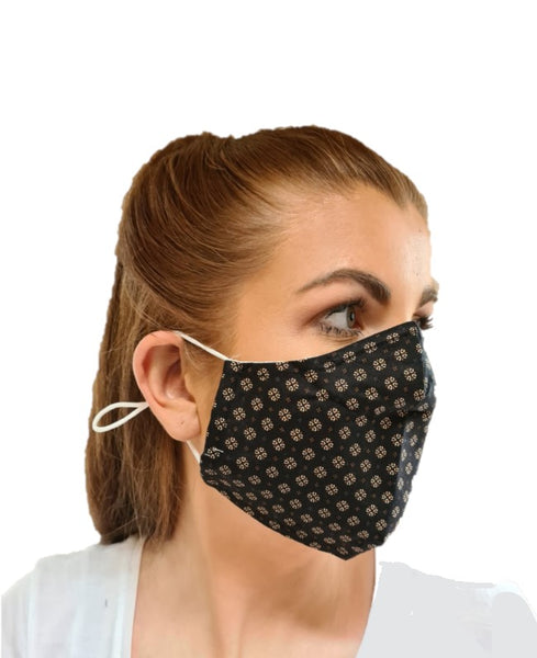 Unisex Clover Print 3 Layered Adjustable Washable Cotton Face Mask