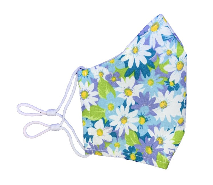 Lilac Floral Print - 3 Layered Adjustable Washable Cotton Fashion Face Mask