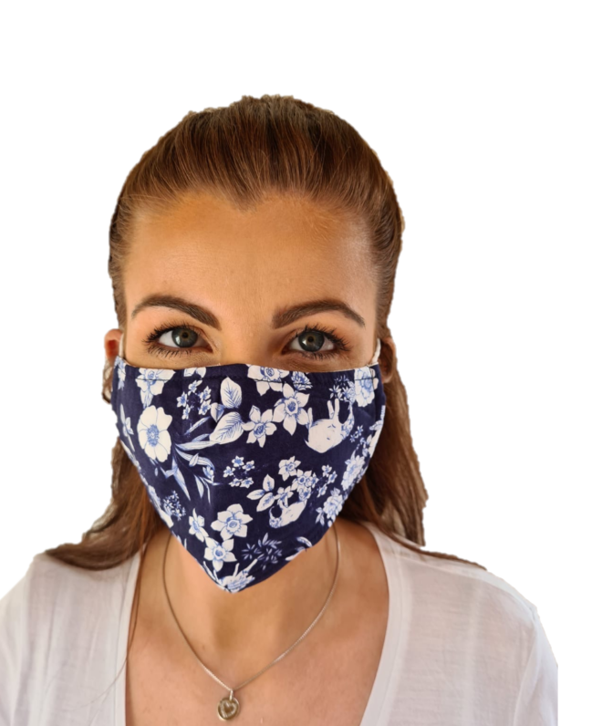 Navy Floral Print 3 Layered Adjustable Washable Cotton Fashion Face Mask