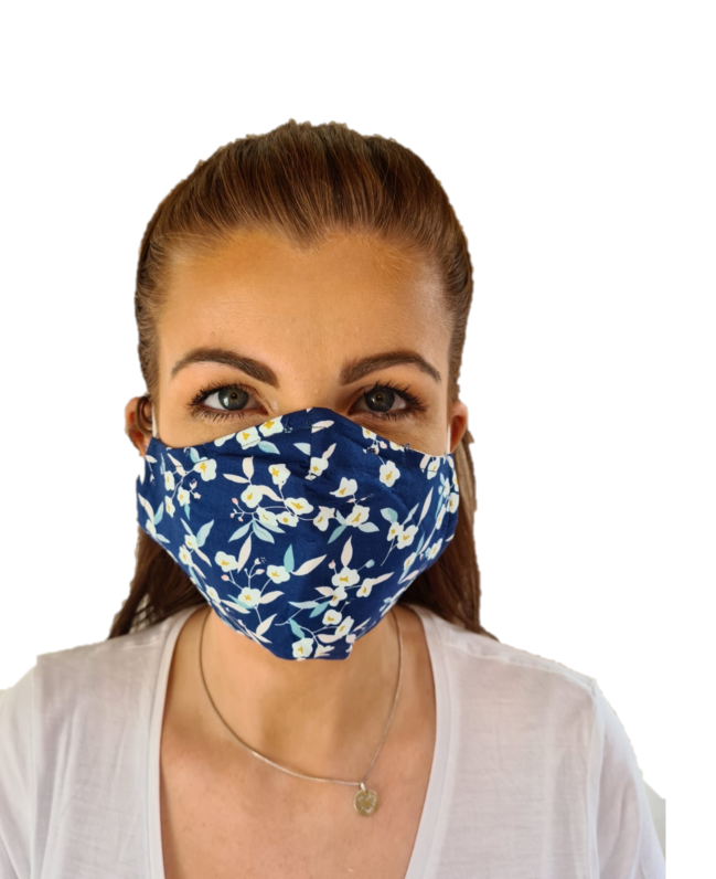 Navy Print 3 Layered Adjustable Washable Cotton Fashion Face Mask