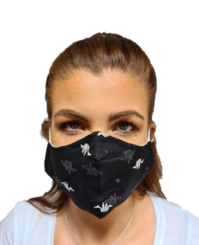 Origami Print 3 Layered Adjustable Washable Cotton Fashion Face Mask