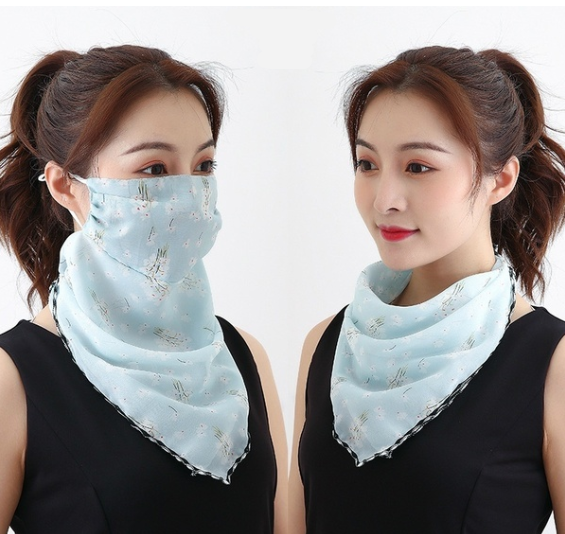 Face Mask With Scarf Printed Fabric