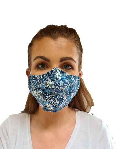 Soft Blue Floral Print 3 Layered Adjustable Washable Cotton Fashion Face Mask