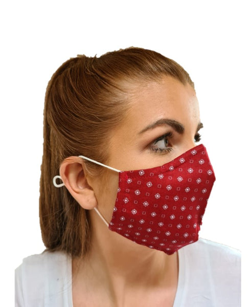 Unisex Geometric Design 3 Layered Adjustable Washable Cotton Comfortable Face Mask
