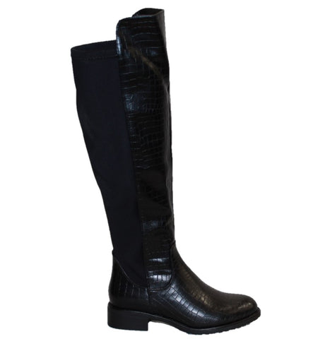 WOMEN'S KNEE HIGH BOOTS WITH ELASTIC BACK