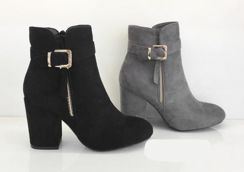 GREY - Ankle Boots With Buckle Zip Detail