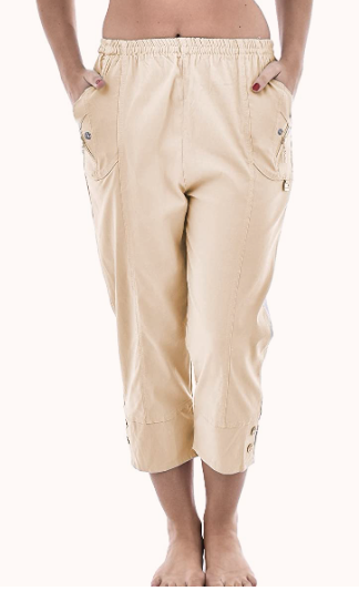 beige cotton cropped trousers