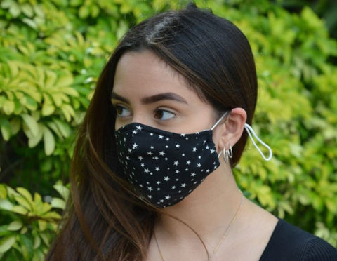 Black Star Print - 3 Layered Cotton Face Mask
