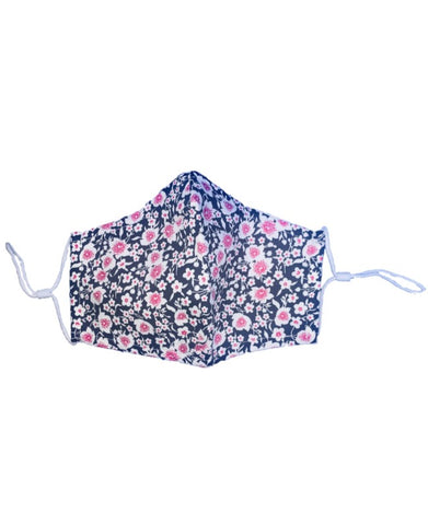Cerise Floral Print - Cotton Face Mask