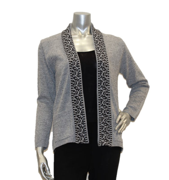 grey women's cardigan edge to edge with pockets
