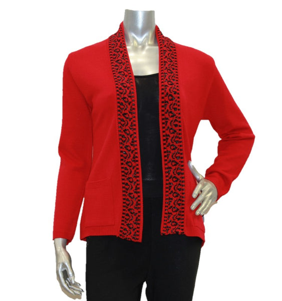 red women's cardigan edge to edge with pockets
