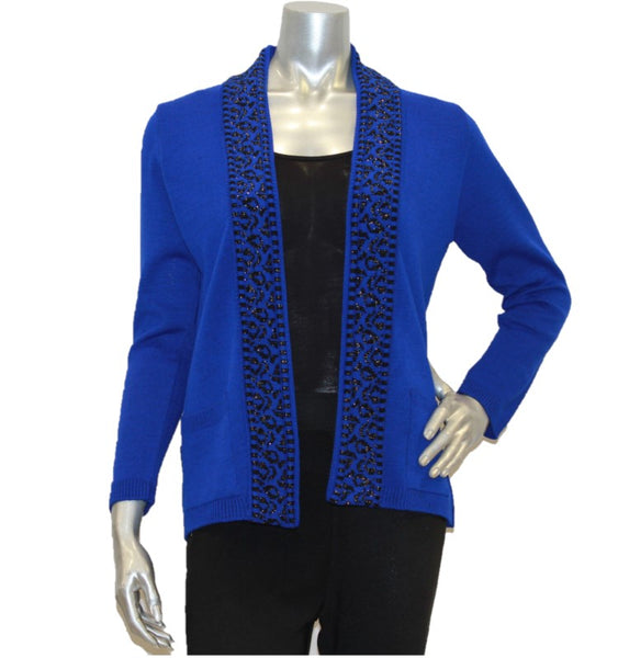royal blue women's cardigan edge to edge with pockets