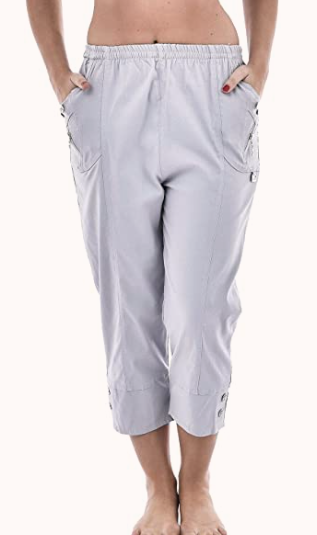grey cotton cropped trousers