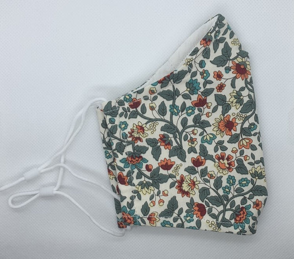 Khaki Small Floral Print - 3 Layered Cotton Face Mask