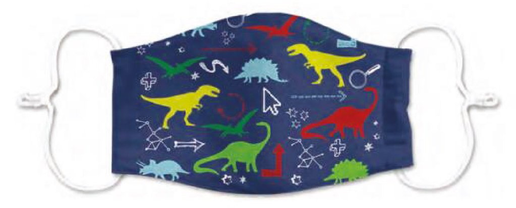 Kids Dinosaur Print 3 Layered Adjustable Washable Cotton Fashion Face Mask