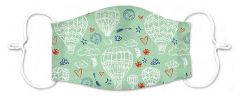 Kids Hot Air Balloons Print 3 Layered Adjustable Washable Cotton Fashion Face Mask