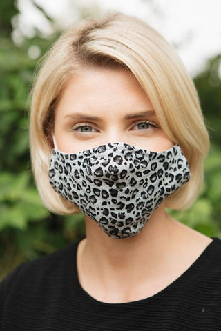 Leopard Print Face Mask - 3 Layered Washable