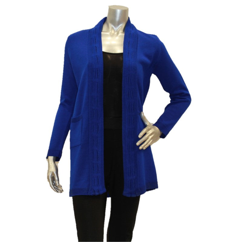 Women's Cardigan Long Edge To Edge With Pockets