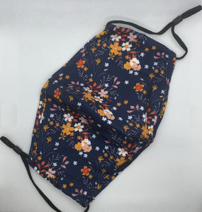 navy floral print face mask ireland