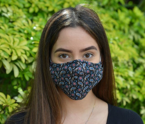 Paisley Peacock Print - 3 Layered Cotton Face Mask