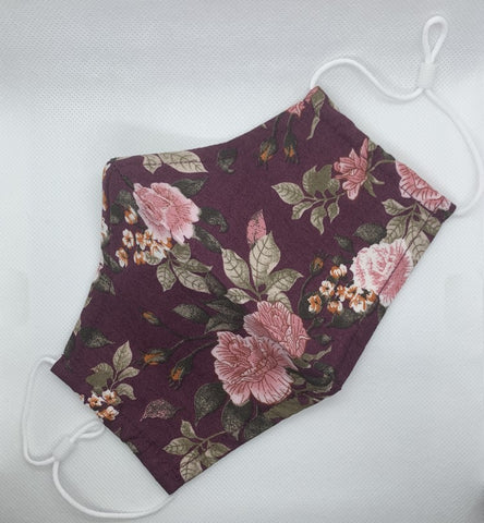purple floral print cotton face mask