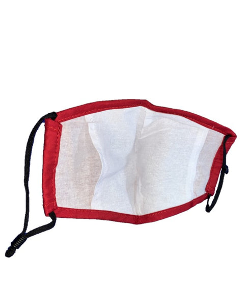 Plain Red - Teens - 3 Layered Cotton Face Mask
