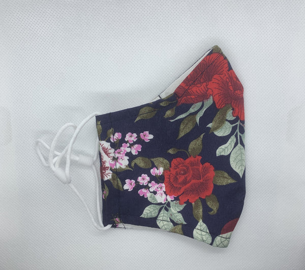 Rose Print - 3 Layered Cotton Face Mask