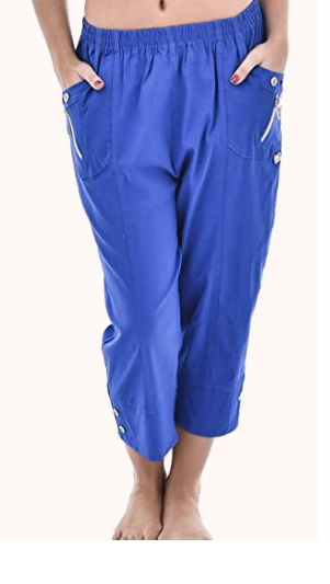 Royal blue cotton cropped trousers
