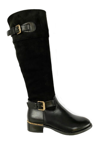 Women's Knee High Boots With Gold Buckle Detail - Black