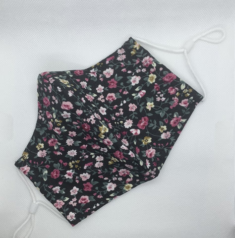 Small Pink Floral Print - 3 Layered Cotton Face Mask
