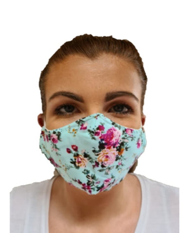 turquoise floral print reusable face mask