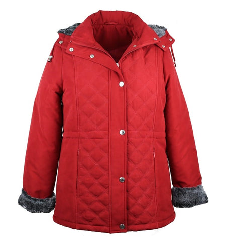 Women's Jacket Faux Fur Trim - Red