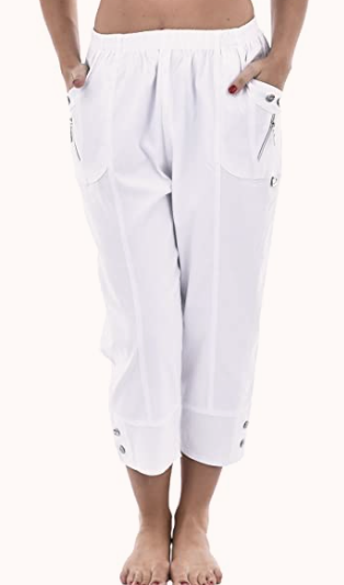 white cotton cropped trousers
