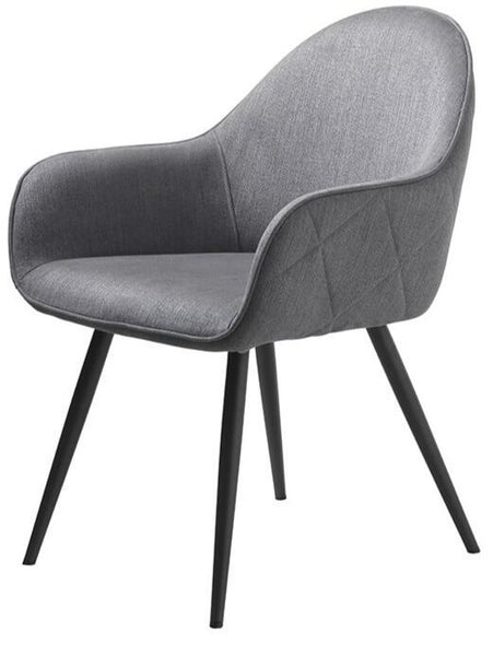 Grey Upholstered Dining Chair with Arms