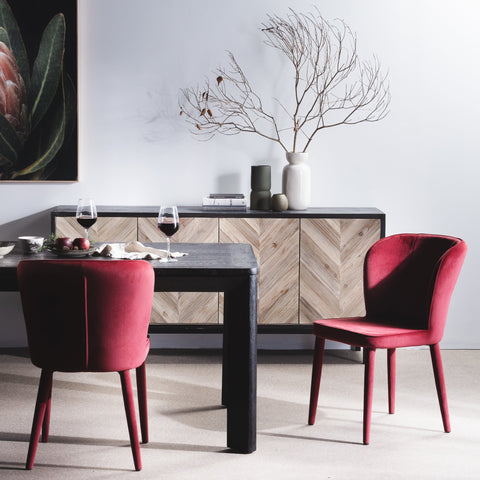 Red Velvet Contemporary Dining Chairs