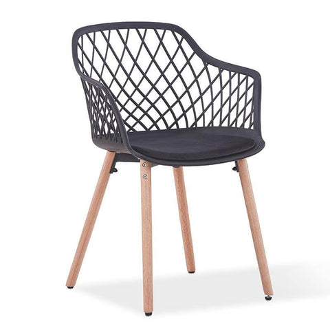 Velvet Wooden Dining Chair With Arms