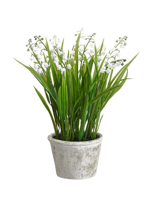 Faux Lily of the Valley Pot
