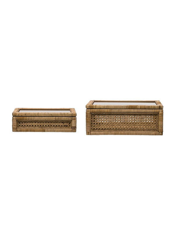 Rattan Display Boxes, Set of 2