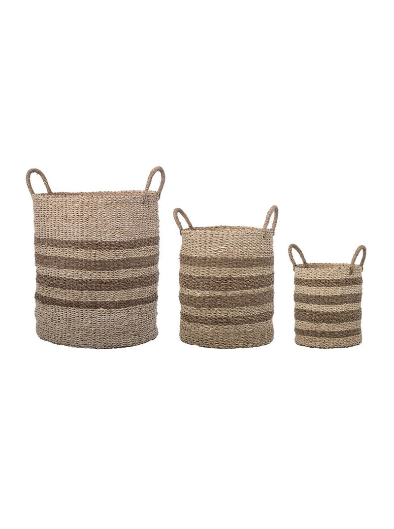 Striped Palm Baskets, Set of 3