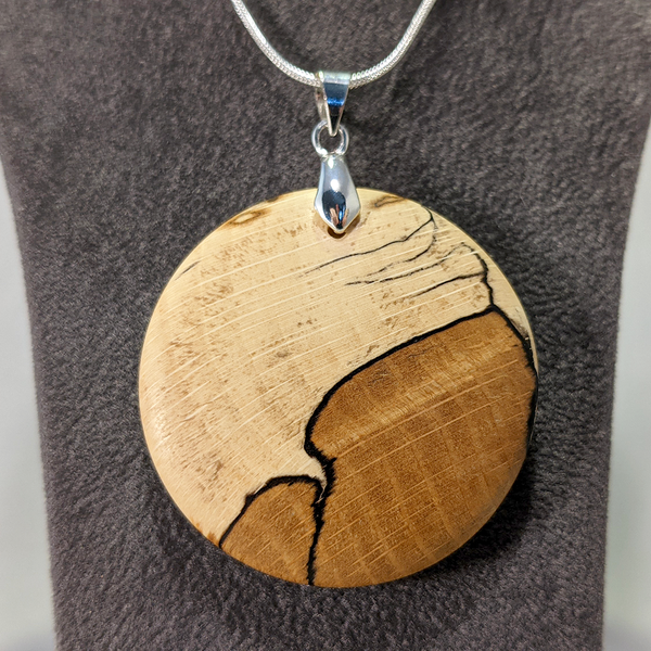 Spalted beech pendant necklace - WoodsmitheryShop